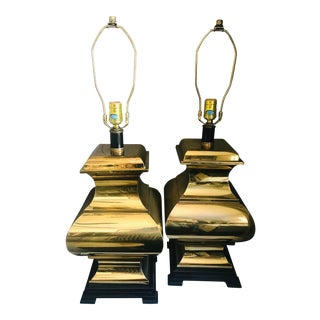 Vintage Frederick Cooper Brass Pagoda Table Lamps - a Pair For Sale