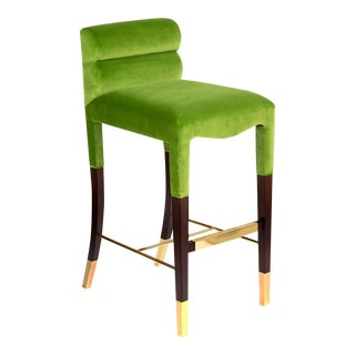 Gardner Bar Stool in Green Velvet For Sale
