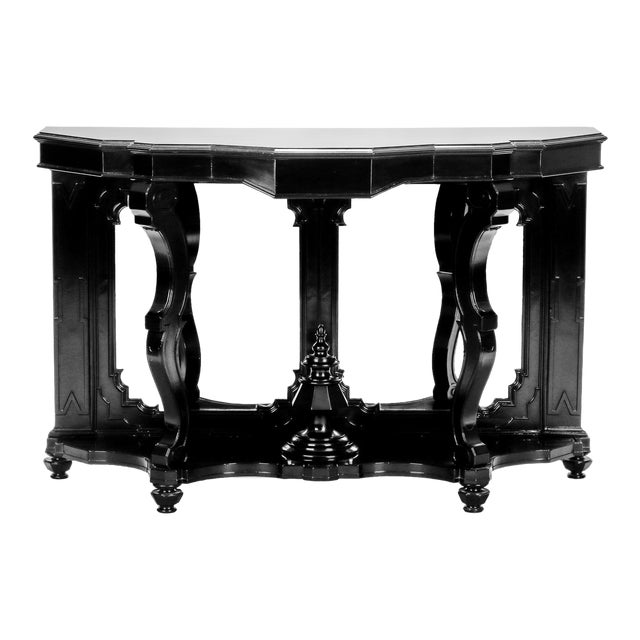 Italian Ebonised Mahogany Console with Mirrored Back For Sale