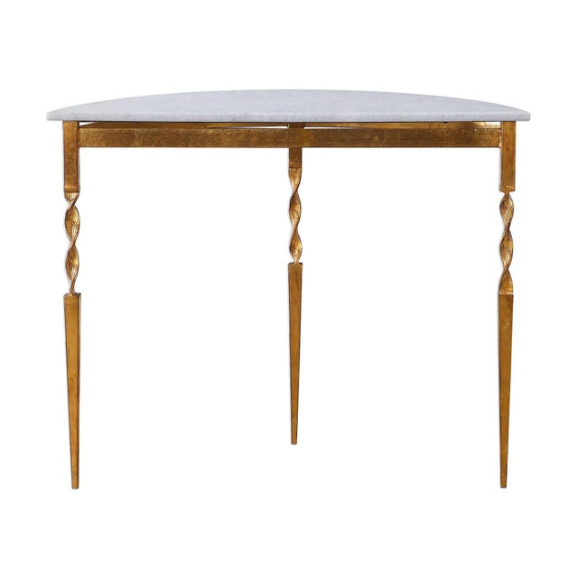 Love this demilune console table featuring a polished, white marble top. The base is made from solid wrought iron and is...