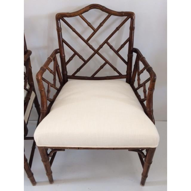 1980s Vintage Faux Bamboo Arm Chairs- A Pair For Sale In West Palm - Image 6 of 13