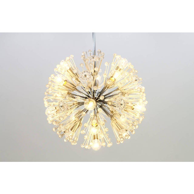 1960s Emil Stejnar Chandelier Snowball Glass an Chrome Seventeen Lights Austria 1960 For Sale - Image 5 of 8