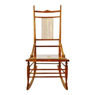Antique Wood Spindle Back Rocking Chair For Sale