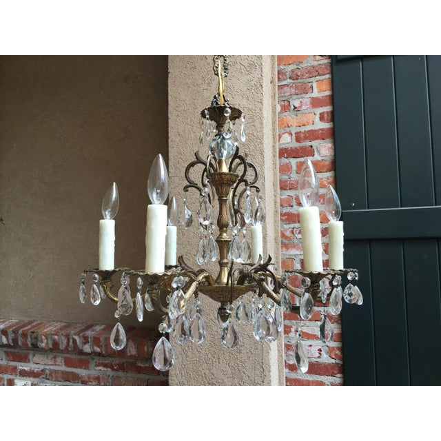 Vintage Six Light French Brass and Crystal Chandelier For Sale - Image 13 of 13