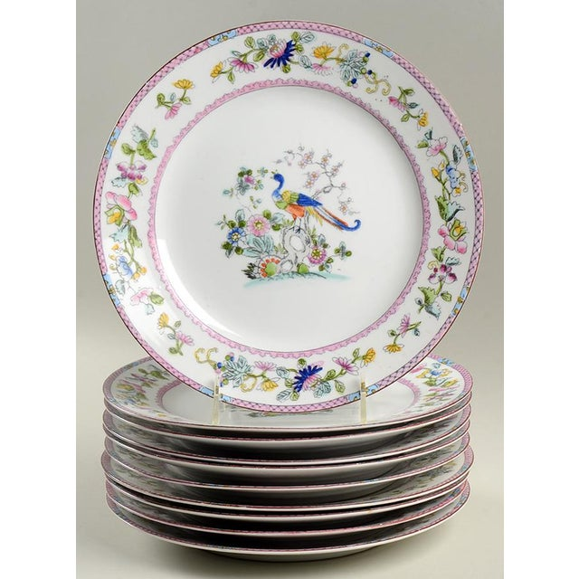 Noritake Pink with Bird of Paradise Dinner Plates - Set of 10 For Sale - Image 9 of 9