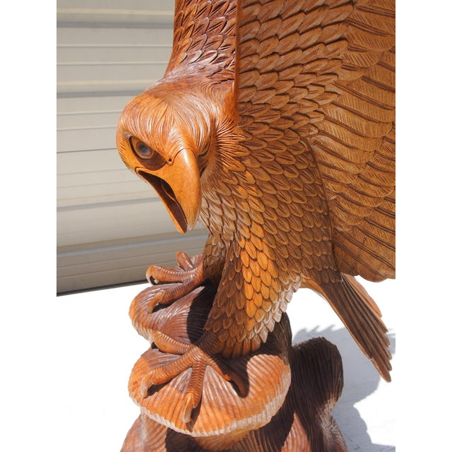 Wood Carved Eagle Sculpture - Image 6 of 6