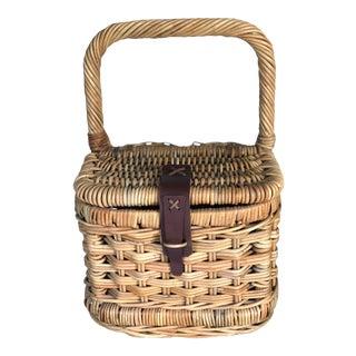Vintage Picnic/Wine Bottle Basket For Sale