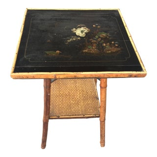 Antique Victorian Bamboo Table With Chinoiserie Top For Sale