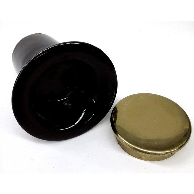MCM Black Porcelain & Brass Candle Holder - Image 6 of 7