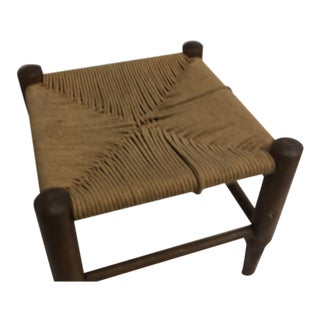 Vintage Country Wood and Rush Woven Seat With Four Legs Adirondack Style For Sale