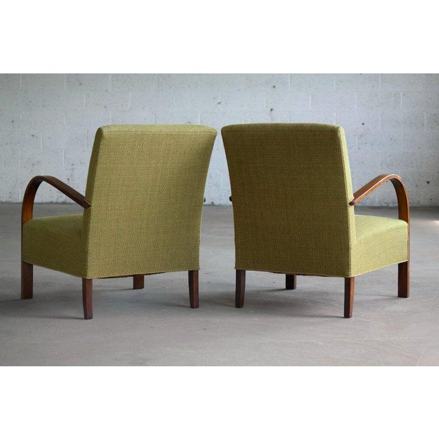 Early Midcentury Danish Art Deco Low Lounge Chairs- A Pair For Sale - Image 10 of 12