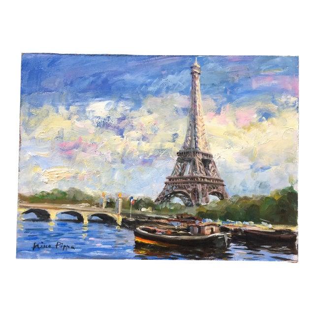 Original Eiffel Tower Paris Painting by Nino Pippa For Sale