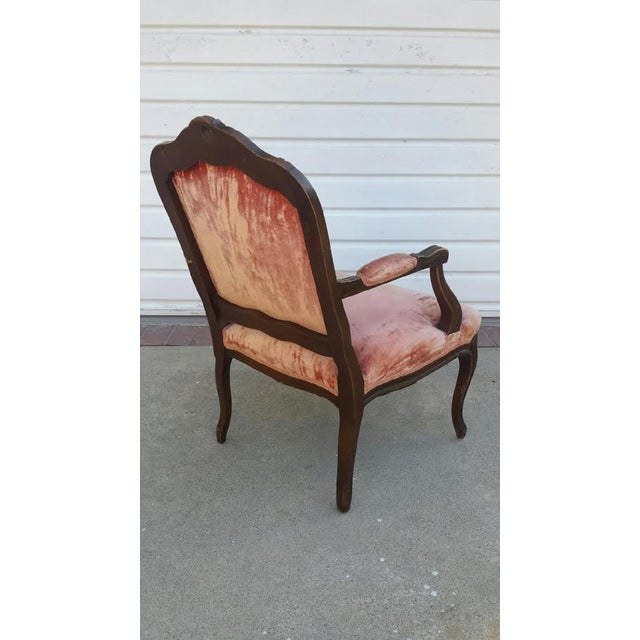 French Louis XV Style Coral Velvet Armchair - Image 2 of 4
