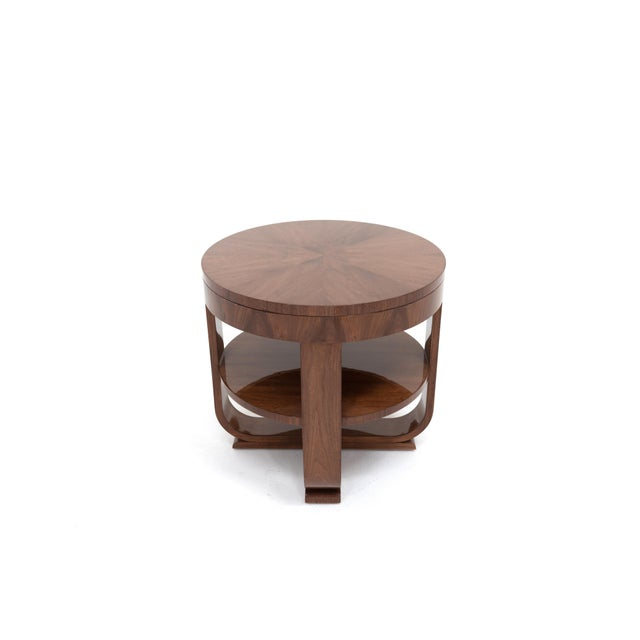 The Rhodes Side Table is the perfect mix of classic and cool. The solid walnut frame is complimented by a starburst top...