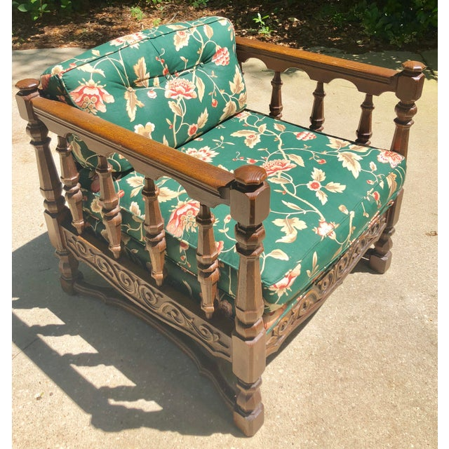 Mid-Century Floral Upholstered Wooden Cube Chair For Sale - Image 10 of 12
