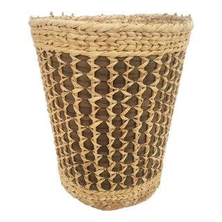 Vintage Large Two Tone Plant Basket For Sale