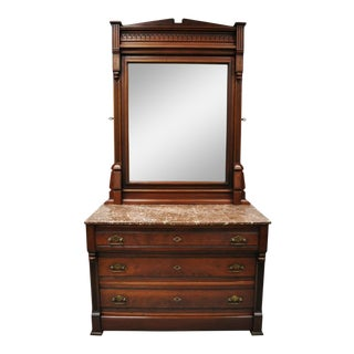 Antique American Eastlake Victorian Marble Top Walnut Washstand Dresser W Mirror For Sale