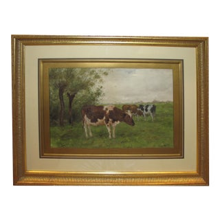 Early 20th Century Dutch Landscape Watercolor Painting of Cows Grazing in a Field by Andrianus Groenewegen, Framed For Sale