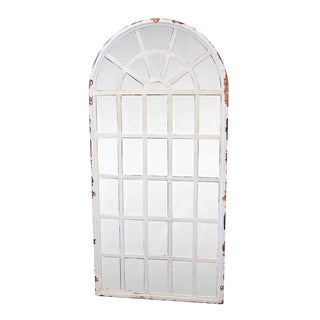 Vintage Mid Century Steel Frame Palladium Arched Chicken Wire Windows For Sale