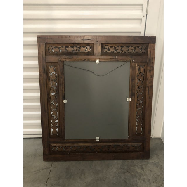 Brown Vintage Hand Carved Wood Indian Wall Mirror For Sale - Image 8 of 9