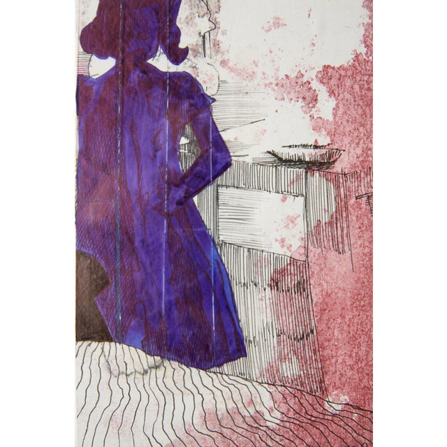 Contemporary Framed Silloutte of a Girl in Watercolor and Ink For Sale - Image 3 of 5