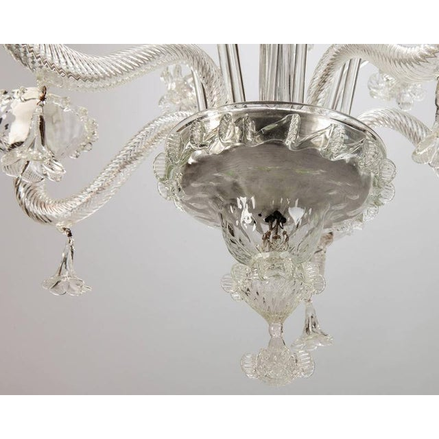 Murano Venetian Five Light Clear Glass Daffodil Chandelier For Sale - Image 4 of 8