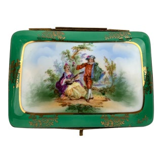 Green Scenic Porcelain Box With Gilt Frame For Sale