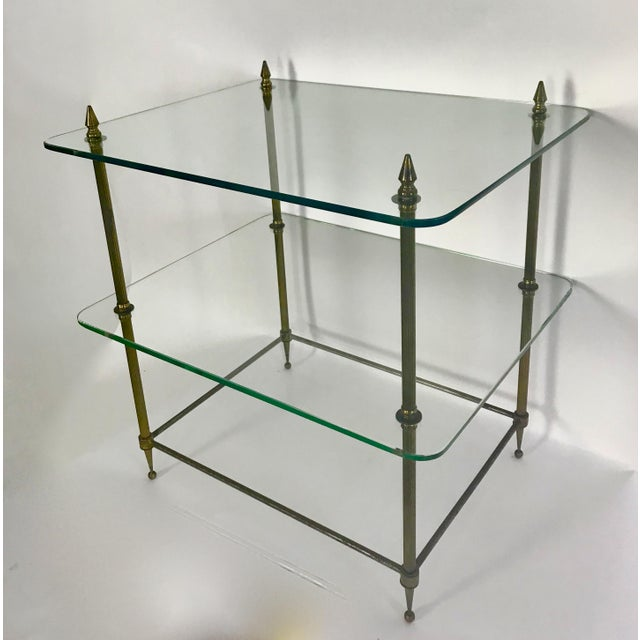 Two-Tiered Glass and Brass Side Table For Sale - Image 4 of 11