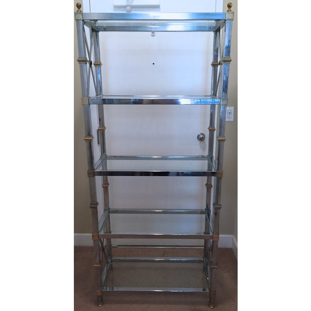 Maison Jansen Style Chrome & Brass Etagere For Sale - Image 9 of 9