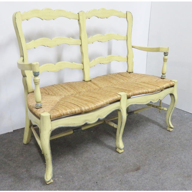 Textile Country French Yellow Painted Rush Seat Settee For Sale - Image 7 of 7