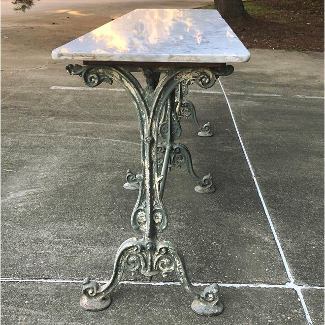 Blue 19th Century Cast Iron Marble Top Sofa Table ~ Confectioner's Table For Sale - Image 8 of 13
