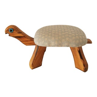Vintage Knotty Pine Upholstered Turtle Foot Rest For Sale