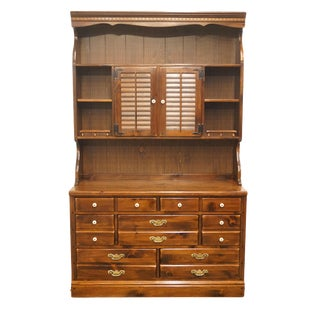 "20th Century Early American Ethan Allen Pine Old Tavern 48"" Dresser With Shutter Door Bookcase Top For Sale"