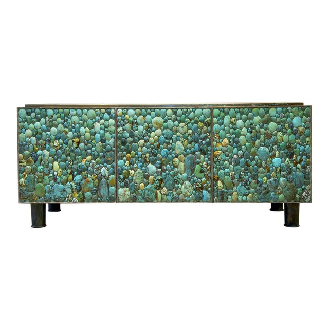 Kam Tin - Sideboard Covered With Real Turquoise Cabochons, France, 2013 For Sale
