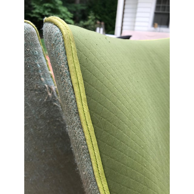 Vintage Apple Green Upholstered Dining Chairs - a Pair For Sale In New York - Image 6 of 10