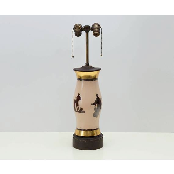 Very unusual and stately lamp featuring four classical Greek or Roman figures of different sizes. Very reminiscent of...