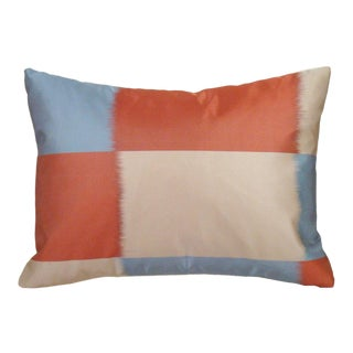 Ikat Checkerboard Japanese Obi Lumbar Pillow Cover For Sale