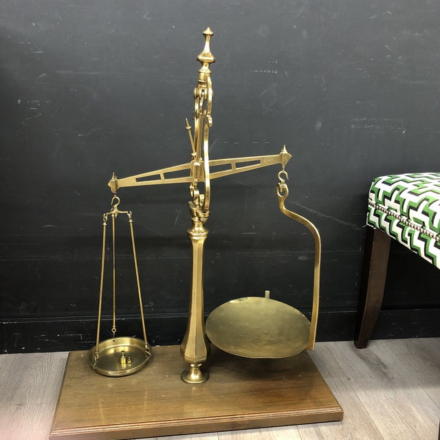 Large Vintage Brass Scale With Weights For Sale - Image 12 of 12