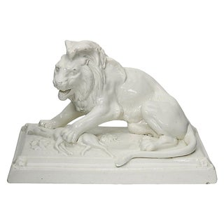 Antique French Glazed Stoneware Lion For Sale