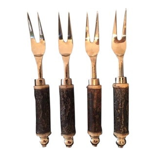 Set of Four Horn Hors d'Oeuvre Forks For Sale