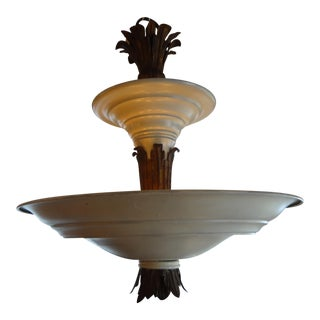 French Art Deco Tole & Bronze Chandelier For Sale