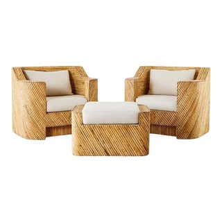 Pair of Gabriella Crespi Inspired Bamboo Rattan Lounge Chairs and Ottoman For Sale
