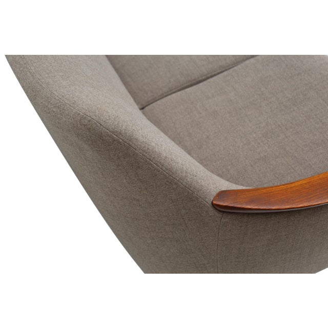 Norwegian Sofa with Sculpted Solid Teak Details For Sale - Image 6 of 12
