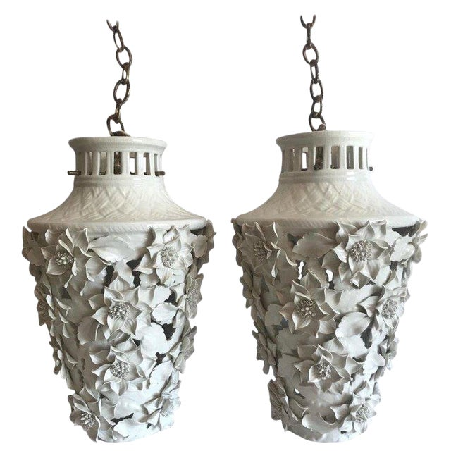 1960's Italian Blanc De Chine Floral Ceramic Pendant Lights For Sale