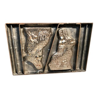 1920s Industrial Factory Double Bunny Rabbits Chocolate Mold W/Baskets of Eggs For Sale