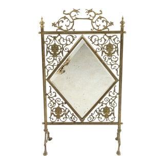 Victorian Brass Fire Screen For Sale