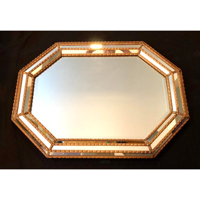 Italian Mid-Century Beaded and Beveled Octagonal Wall Mirror For Sale - Image 4 of 10