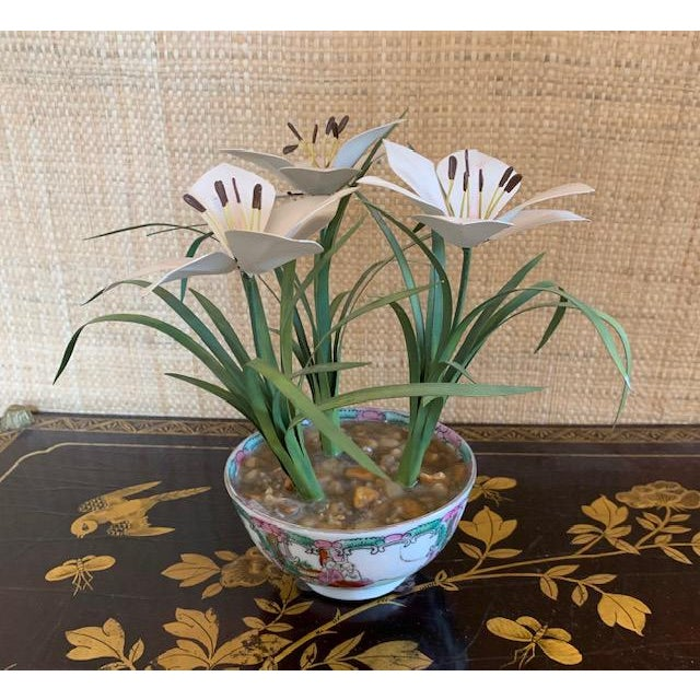 Metal Tole Potted Flowers in Famille Rose Bowl For Sale - Image 7 of 10