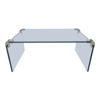 Floating Glass Side Table by Pace For Sale