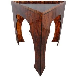 1970s Hollywood Regency Faux Tortoiseshell Acrylic Triangle Table - Short For Sale